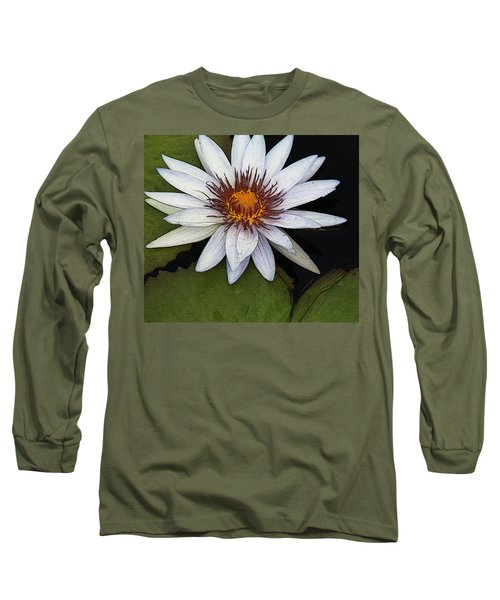 White Water Lily Long Sleeve T-Shirt by Yvonne Wright