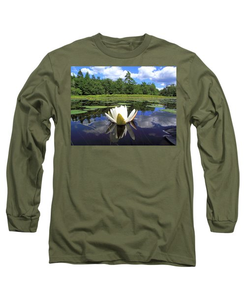White Waterlily On A Lake Long Sleeve T-Shirt