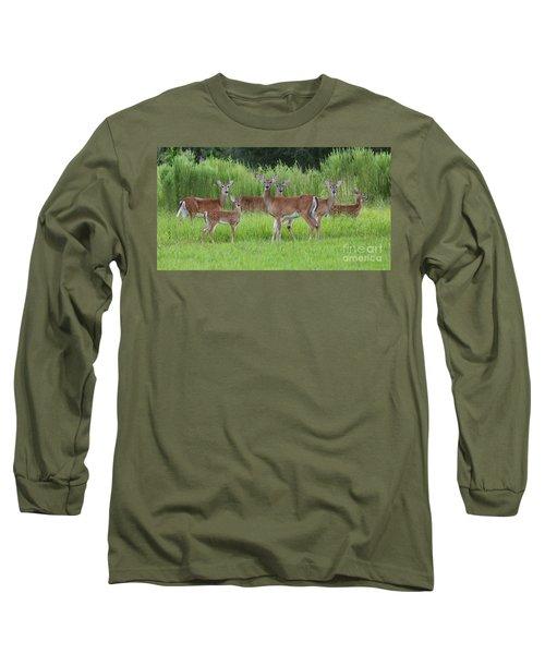 Whitetail Deer Gathering Long Sleeve T-Shirt by Myrna Bradshaw