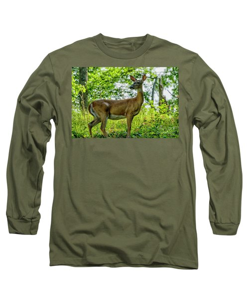 Long Sleeve T-Shirt featuring the photograph Whitetail Deer  by Thomas R Fletcher