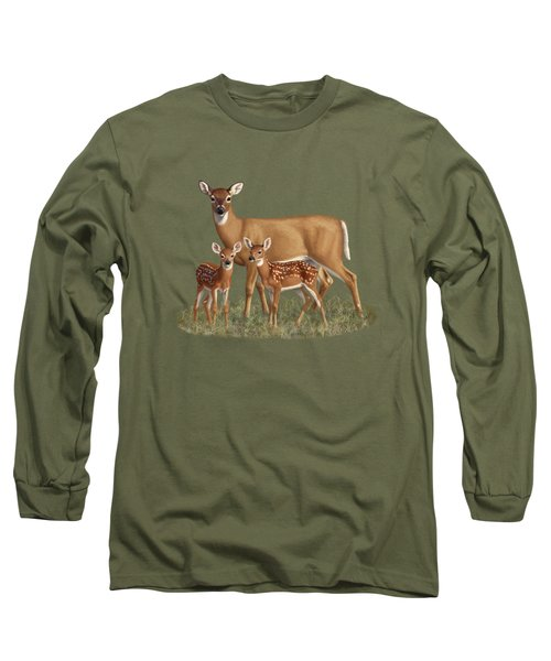 Whitetail Doe And Fawns - Mom's Little Spring Blossoms Long Sleeve T-Shirt by Crista Forest