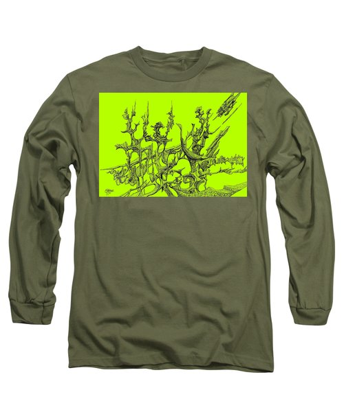 Whooshh -  Lime Background Long Sleeve T-Shirt