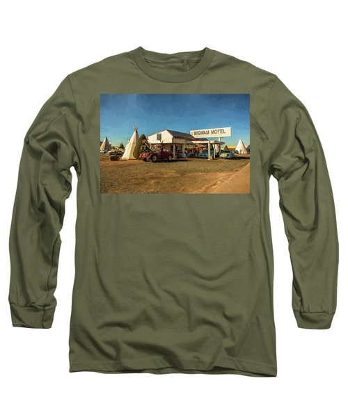 Long Sleeve T-Shirt featuring the painting Wigwam Motel by Lou Novick
