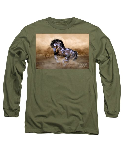 Wild And Free Horse Art Long Sleeve T-Shirt by Shanina Conway