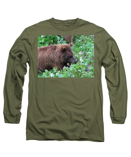 Wild Bear Eating Berries  Long Sleeve T-Shirt
