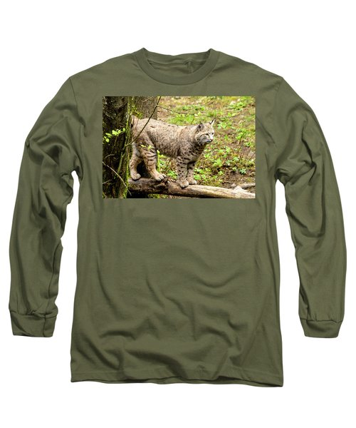 Wild Bobcat Long Sleeve T-Shirt by Teri Virbickis