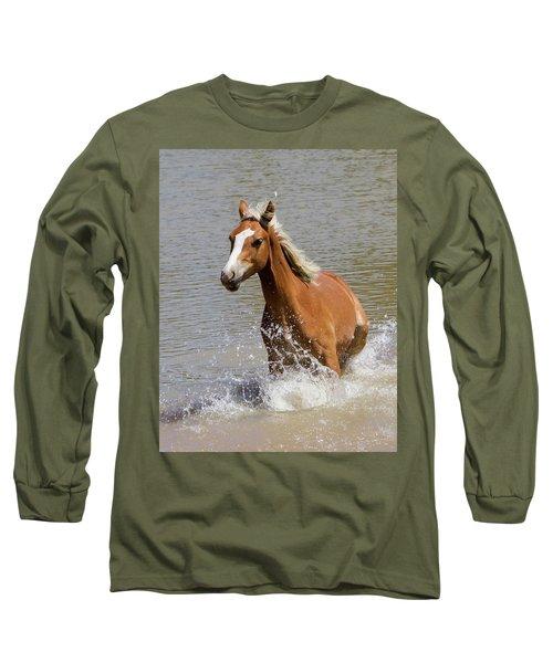 Wild Horse Splashing At The Water Hole Long Sleeve T-Shirt