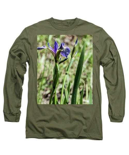 Long Sleeve T-Shirt featuring the photograph Wild Maine Iris by Daniel Hebard