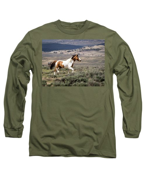 Wild Mustang Stallion On The Move In Sand Wash Basin Long Sleeve T-Shirt