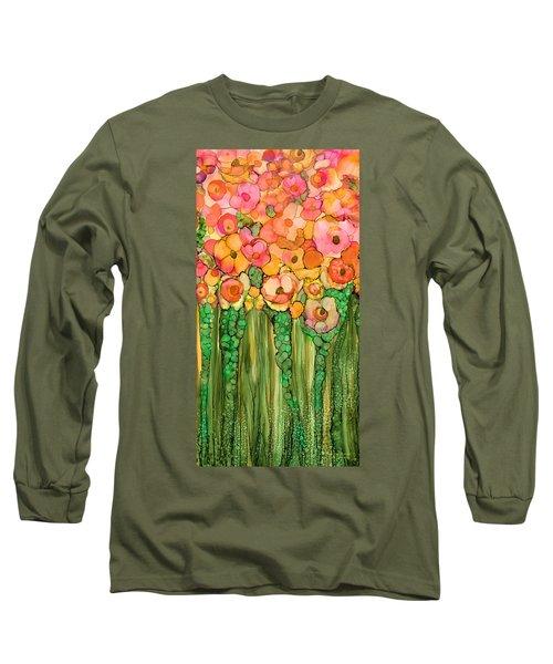 Long Sleeve T-Shirt featuring the mixed media Wild Poppy Garden - Gold by Carol Cavalaris
