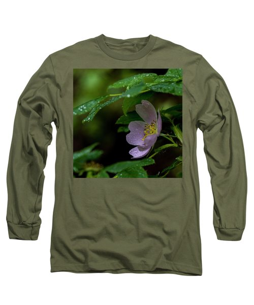 Long Sleeve T-Shirt featuring the photograph Wild Rose With Shelter by Darcy Michaelchuk