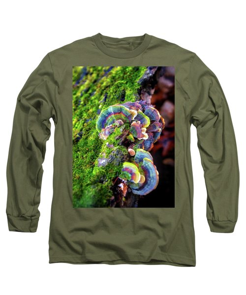 Wild Striped Mushroom Growing On Tree - Paradise Springs - Kettle Moraine State Forest Long Sleeve T-Shirt by Jennifer Rondinelli Reilly - Fine Art Photography
