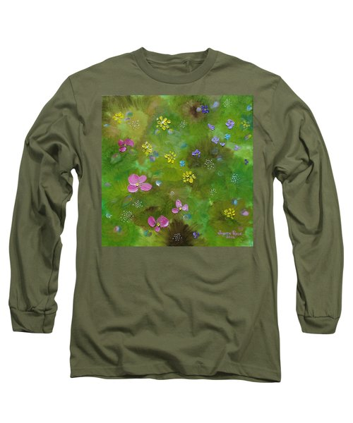Long Sleeve T-Shirt featuring the painting Wildflower Support by Judith Rhue