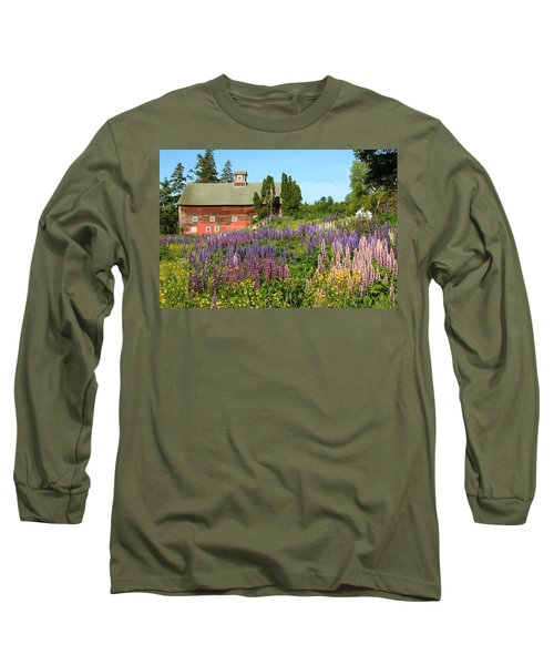Long Sleeve T-Shirt featuring the photograph Wildflowers And Red Barn by Roupen  Baker