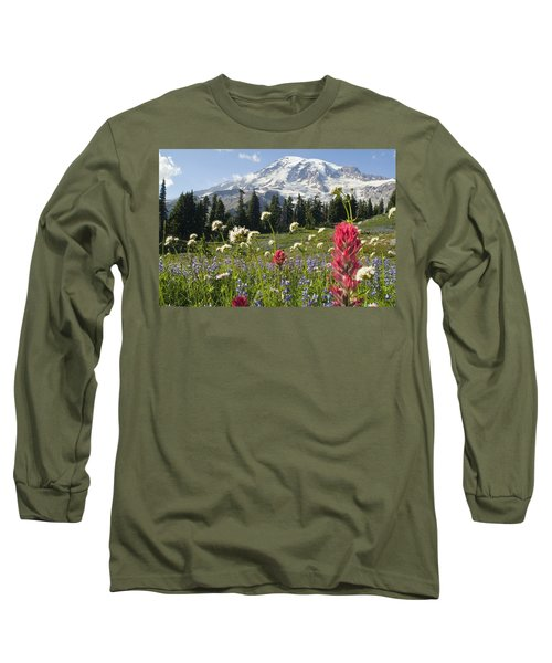 Wildflowers In Mount Rainier National Long Sleeve T-Shirt