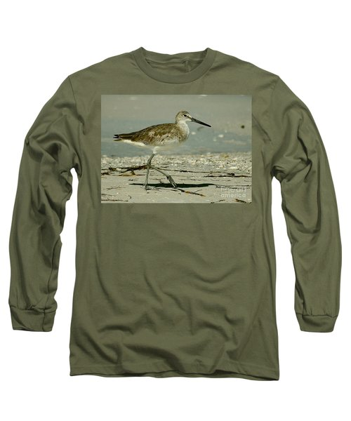 Willet At The Shoreline Long Sleeve T-Shirt by Myrna Bradshaw