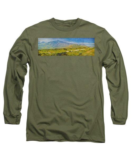 Long Sleeve T-Shirt featuring the photograph Wind Turbine Farm Palm Springs Ca by David Zanzinger