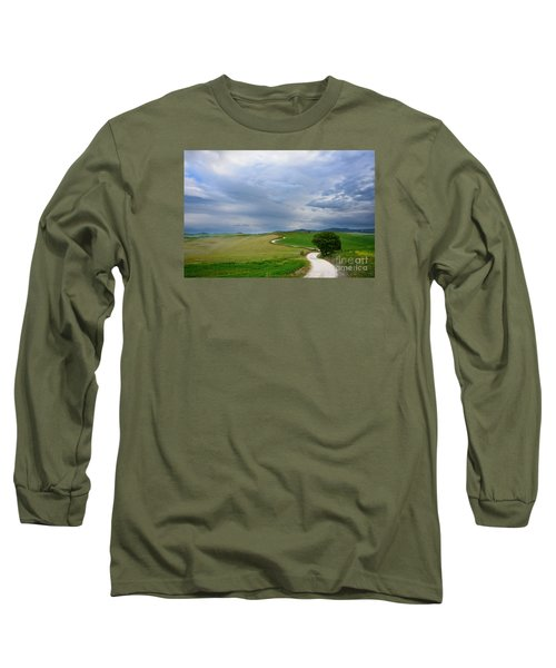 Winding Road To A Destination In A Tuscany Landscape Long Sleeve T-Shirt by IPics Photography