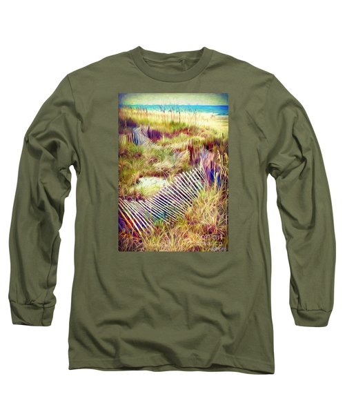 Long Sleeve T-Shirt featuring the digital art Windswept Fence Strokes by Linda Olsen