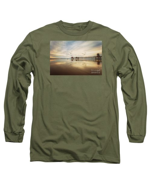 Winter At Huntington Beach Pier Long Sleeve T-Shirt