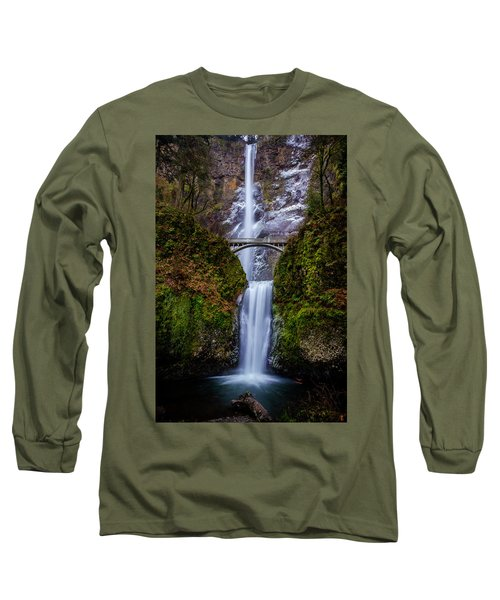 Winter At Multnomah Falls 2 Long Sleeve T-Shirt