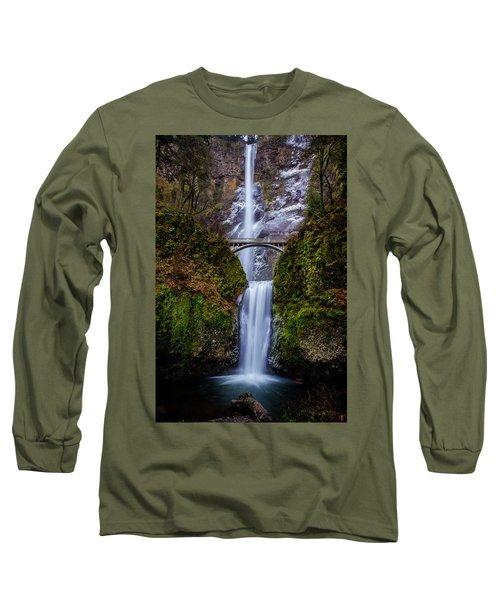 Winter At Multnomah Falls 2 Long Sleeve T-Shirt
