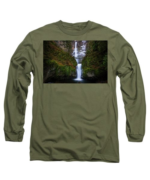 Winter At Multnomah Falls Long Sleeve T-Shirt