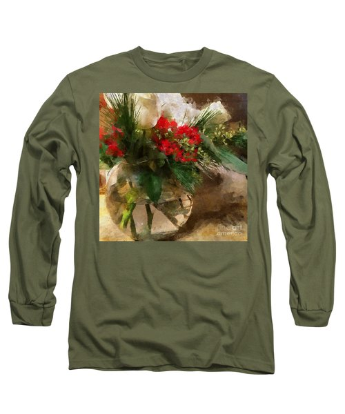 Winter Flowers In Glass Vase Long Sleeve T-Shirt