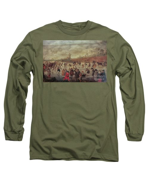 Long Sleeve T-Shirt featuring the photograph Winter Fun Painting By Barend Avercamp by Patricia Hofmeester