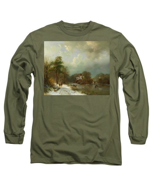 Long Sleeve T-Shirt featuring the painting Winter Landscape - Holland by Barend Koekkoek