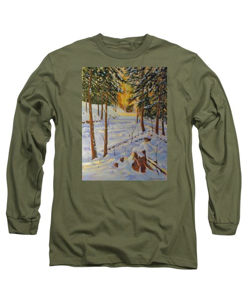 Winter On The Lane Long Sleeve T-Shirt by David Gilmore