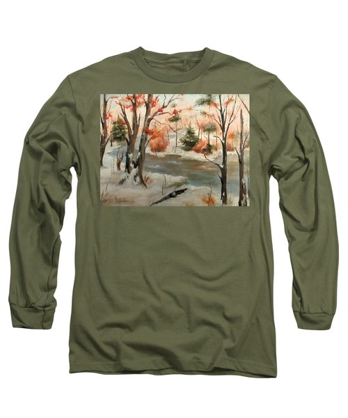 Long Sleeve T-Shirt featuring the painting Winter Stream by Roseann Gilmore