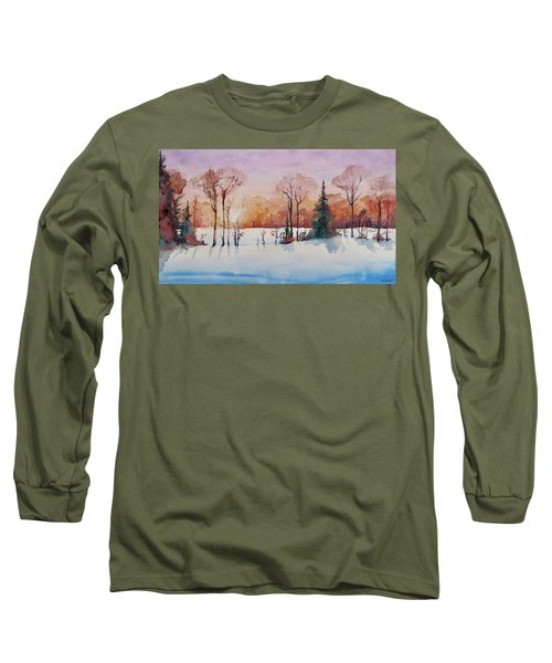 Long Sleeve T-Shirt featuring the painting Winter Sunrise by Geni Gorani