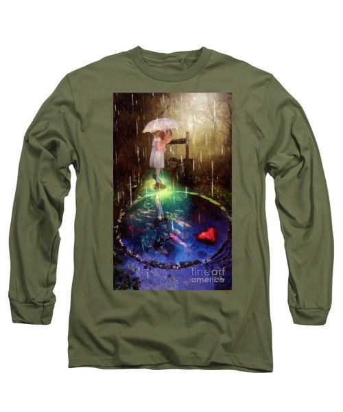 Long Sleeve T-Shirt featuring the painting Wishing Well by Mo T