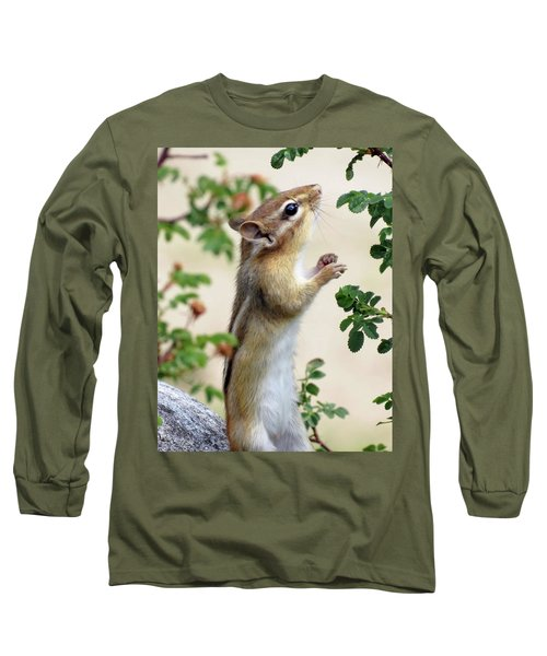 Within Reach - Chipmunk Long Sleeve T-Shirt by MTBobbins Photography