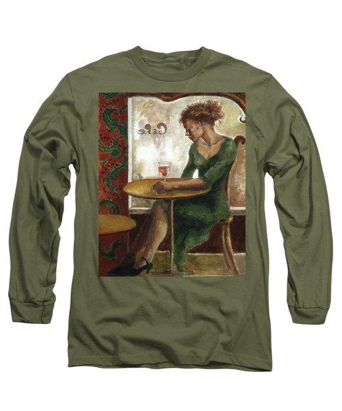Woman In A Paris Cafe Long Sleeve T-Shirt