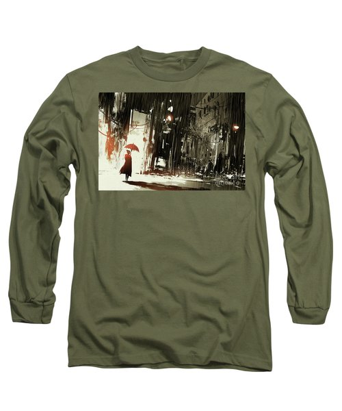 Long Sleeve T-Shirt featuring the painting Woman In The Destroyed City by Tithi Luadthong