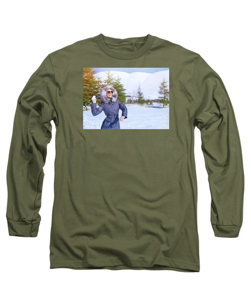 Woman Playing In Winter Park Long Sleeve T-Shirt