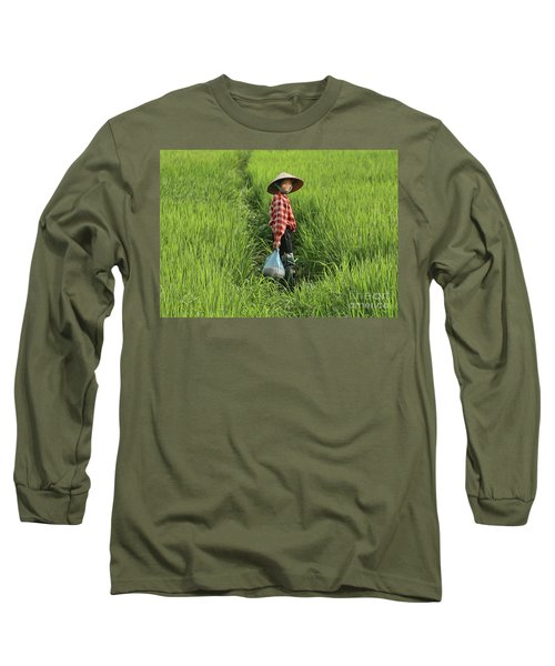 Woman Smile Rice Fields Long Sleeve T-Shirt by Chuck Kuhn