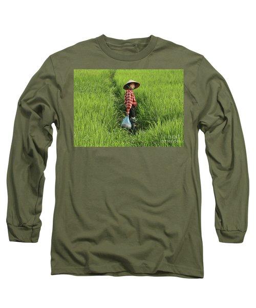 Woman Smile Rice Fields Long Sleeve T-Shirt
