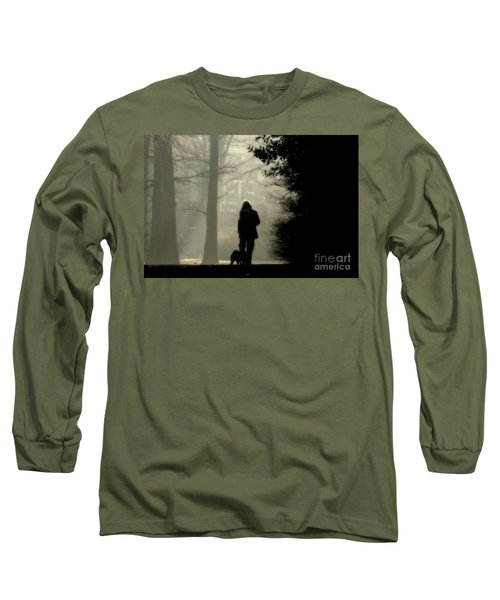 Long Sleeve T-Shirt featuring the photograph Woman Walking Dog by Patricia Hofmeester