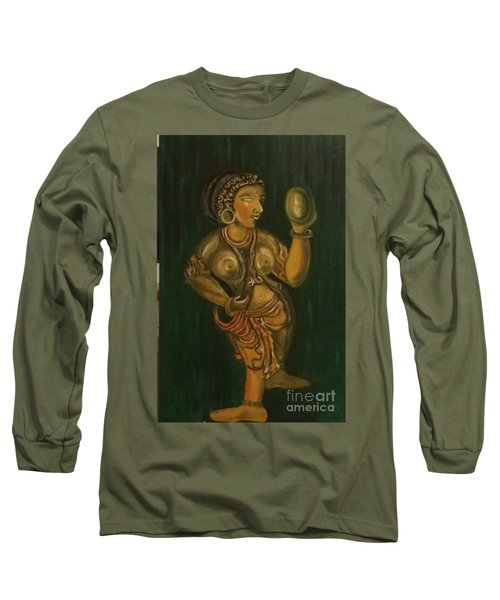 Woman With A Mirror Sculpture Long Sleeve T-Shirt by Brindha Naveen