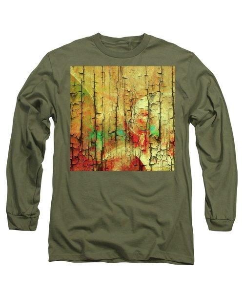 Long Sleeve T-Shirt featuring the digital art Wood Abstract by Deborah Benoit