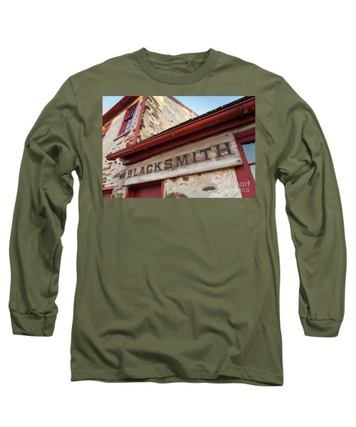 Wood Blacksmith Sign On Building Long Sleeve T-Shirt
