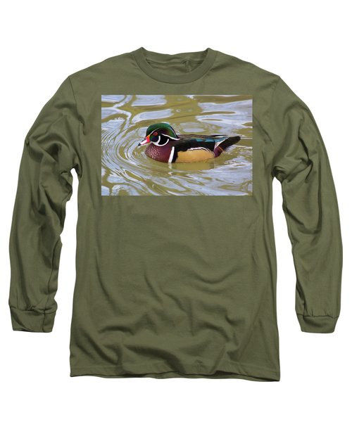 Wood Duck Long Sleeve T-Shirt by David Stasiak
