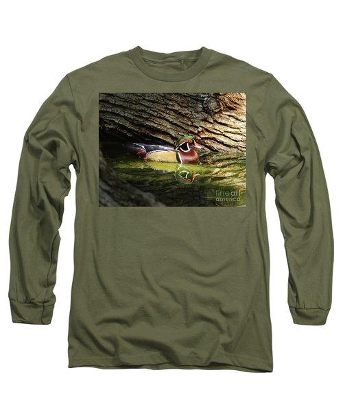 Wood Duck In Wood Long Sleeve T-Shirt