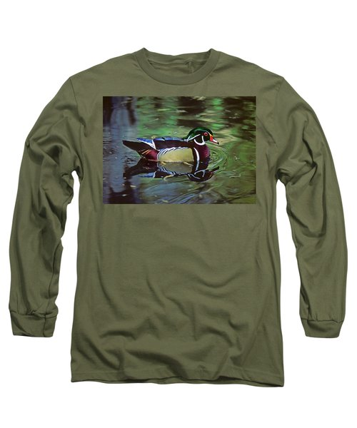 Long Sleeve T-Shirt featuring the photograph Wood Duck by Marie Hicks
