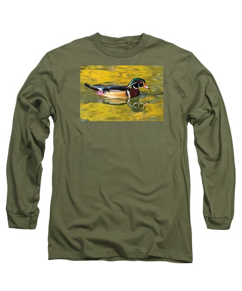 Wood Duck On Golden Pond Long Sleeve T-Shirt by Stephen  Johnson