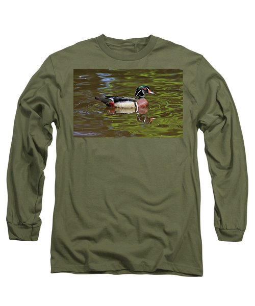 Long Sleeve T-Shirt featuring the photograph Wood Duck by Sandy Keeton