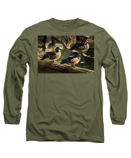 Wood Ducks Posing On A Log Long Sleeve T-Shirt